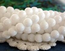 6mm Druks, Czech Glass Beads, Czech Glass Druks, Round Glass Beads, Opaque White Beads CZ-314