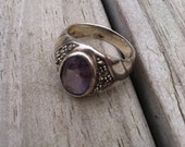 Vintage Beautiful Amethyst Sterling Silver Ring Size 10
