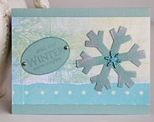 Snowflake Winter Holiday Card in Light Turquoise, Christmas Card, Handmade Notecard for the Cold Season, Winter Colors, Holiday Greetings