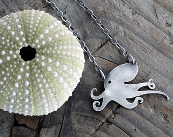 Octopus Pendant. Kraken. I Heart Octo-pi. Ocean Animal Jewelry. Sterling Silver Octopus Necklace. Sea Life. Tentacles. silhouette. Greyjoy