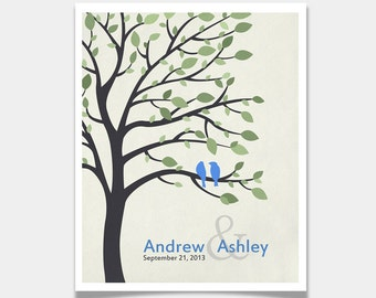 Lovebirds in Tree Custom - Personalized Wedding Print - Wall Art - Anniversary Gift - Housewarming - Established print