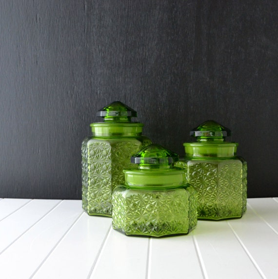green glass canisters vintage kitchen canisters l e smith