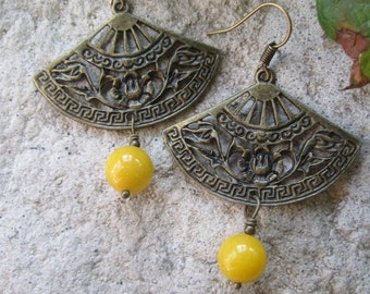 Fan Dancer Butter Jade Asian Boho Earrings