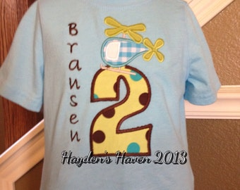 Boy's Helicopter Birthday Shirt