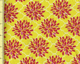 Pink Floral Mums on Yellow fabric B34-PS-P23 by Brother Sister Design Studio  - One Yard