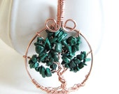 Green Tree of Life Pendant , Malachite Tree of Life , Malachite jewelry , Copper , Malachite