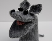 Knit mouse puppet, grey mouse hand puppet, knit sock puppet, mouse sock puppet, knit hand puppet, hand knit puppet, mouse puppet toy