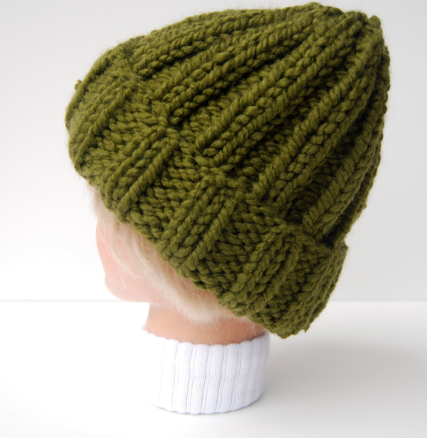 Ribbed beanie knit green hat hand knit hat knit by LoopsAndLines