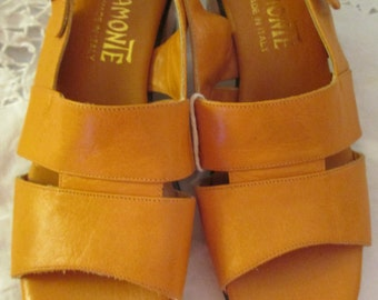 1970's MIRATONE Italian Orange Leather SANDAL