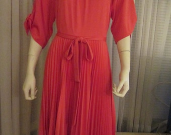 No Label 1970's Red Full Circle Pleated Skirt DRESS