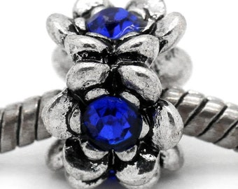 SALE 3 Blue Rhinestone BeadS Carved Flower Antique Silver - 13x13mm  - Ships IMMEDIATELY -  B829