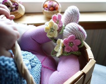 Baby booties - knit baby booties - knitted baby girls booties