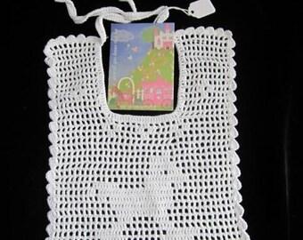 SALE Crochet Baby Bib Baby Shower Gift Crochet Vintage Baby Bib Crocheted Christening Baby Bib Crochet little horse bib