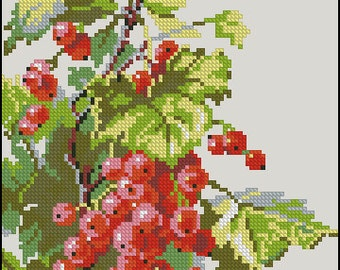 Instant Download Counted Cross Stitch Chart PDF Pattern N109ld - Redcurrant