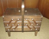 Vintage 3 Tier Accordion Style Singer Sewing Cabinet.