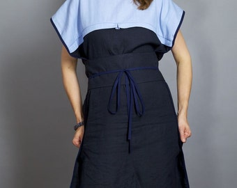 Linen Dress SAYO with Waist Belt [Obi]