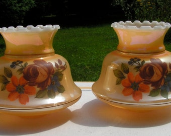 A Set of Two Lusterware Lamp Shades Orange with Chocolate Brown Rose, Purple forget me not and orange poppy