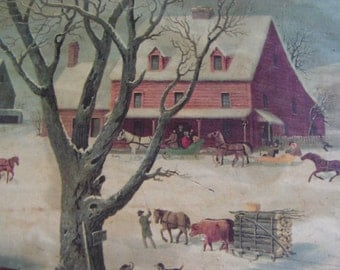 Primitive Folk Art Decoupage - Winter in The Country - Sleighs Arriving at the Inn