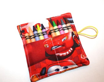 Crayon Rolls Party Favors, made from Disney Red Cars fabric, holds 10 Crayons, Birthday Party Favors