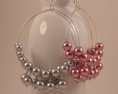 Beaded Glass Pearl Hoop Earrings with Silver Plated Accents