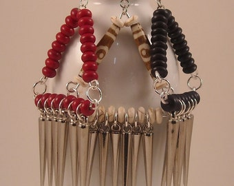 Afrocentric Triangle Shape Chandeliers with Spikes Earrings