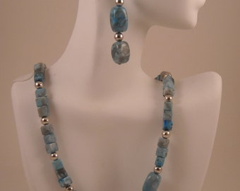 Jasper Squares and Nuggets Blue Variegated Jasper and Silver Necklace and Dangle Earrings Set