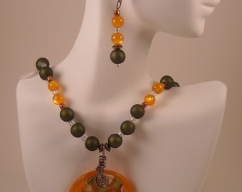 Orange/Green Necklace and Earrings Set with Focal Pendant