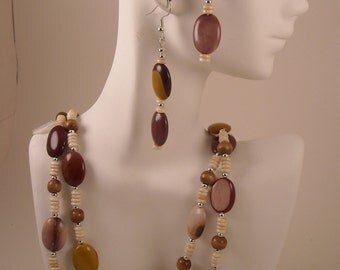 Beaded Necklace and Dangle Earrings Set