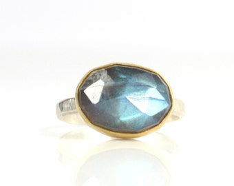 Rose Cut Labradorite Ring