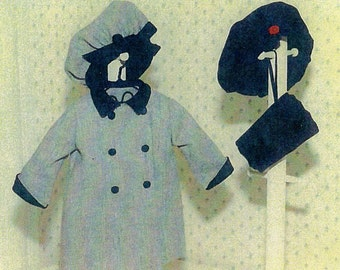 "Doll Pattern / 18"" Doll / Holiday Dress Coat / Beret /  Muff Patterns for an 18"" doll by Carol Clements"