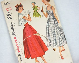 Vintage Sun Dress and Bolero Jacket Sewing Pattern, Simplicity, 2861