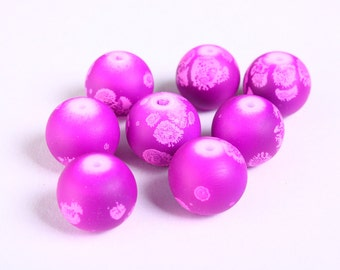12mm purple rubberized beads - 12mm round rubberized style beads - 12mm glass beads (1171) - Flat rate shipping