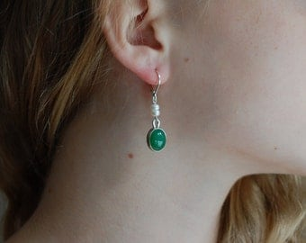 Chrysoprase Earrings Elegant Earrings Natural Stone Earrings Emerald Green Earrings Chrysoprase Jewelry