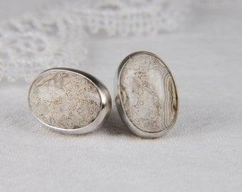 Lace Agate Earrings Artisan Earrings Silver Post Earrings Large Stone Earrings Artisan Jewelry