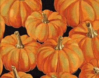 Pumpkins, Autumn Fauna by Benartex, Harvest Fabric, Pumpkin Fabric, Autumn  Fabric, Metallic Fabric, 01932