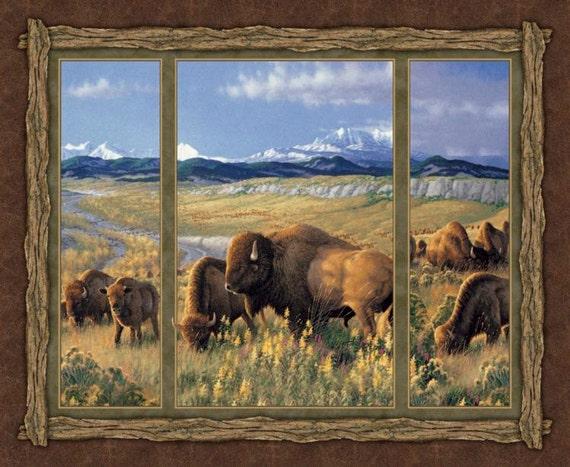 Bison Range Wall Panel, Bison Fabric, Buffalo Fabric, 1 panel, 01935
