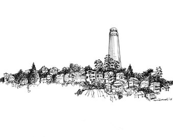 Digital download only-Pen and ink drawing of Coit Tower, San Francisco, CA  DOWNLOAD NOW