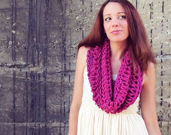 Knitted Cowl Scarf  Pink Womens Fuscia Infinity Scarf Teens Spring Summer Winter Autumn Circle