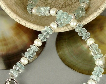 18 Inch Genuine Aquamarine and Freshwater Pearl Necklace