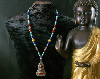 Turquoise Necklace - Tibetan SS Pendant Necklace - Yoga - Ethnic Jewelry - Ancient Jewelry - Statement Necklace - Beadwork - Fine Jewelry