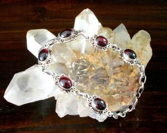 Red Garnet Bracelet, Sterling Silver Bracelet, Sterling Silver Link Bracelet, Garnet Jewelry, Sterling Bracelet, Tennis Bracelet, 925 Silver