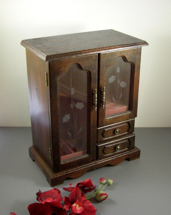 Vintage Wooden Jewelry Box Chest Large Standing Cabinet