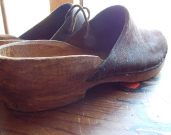 SALE Primitive Wood Clogs