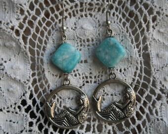 Antique silver MERMAID earrings.