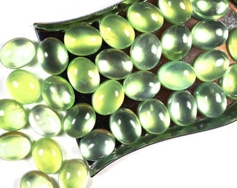 Prehnite cabochon - 10 x 8 mm oval smooth - flat back for jewelry making