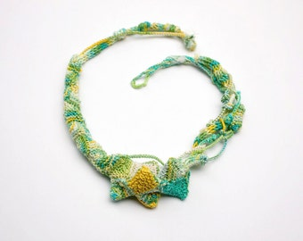 Knitted necklace, fiber jewelry, knitted jewelry, bamboo necklace, yellow aqua chartreuse white, OOAK