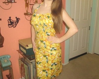 Lemon Wiggle Dress 1950s Inspired Vibrant Color Great for Curves Retro Rockabilly PinUp Spring Summer Fun Fabulous
