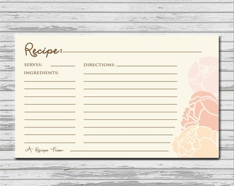 Soft Pink Peach Peony Recipe Card  Bridal Shower- 3x5 INSTANT printable download - flowers rustic recipe kitchen cards PDF bridal shower