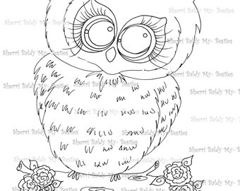 INSTANT DOWNLOAD Digital Digi Stamps Big Eyed My Bestie Digi Stamp Besties Big Head Dolls Besite Owl By Sherri Baldy