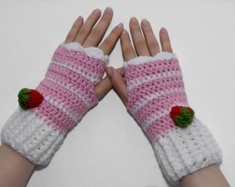 Gloves- Fingerless Gloves-Crochet Gloves- Cake Fingerless Glove-Strawberry Gloves- Pink- Women Gloves- Mittens- Food Gloves